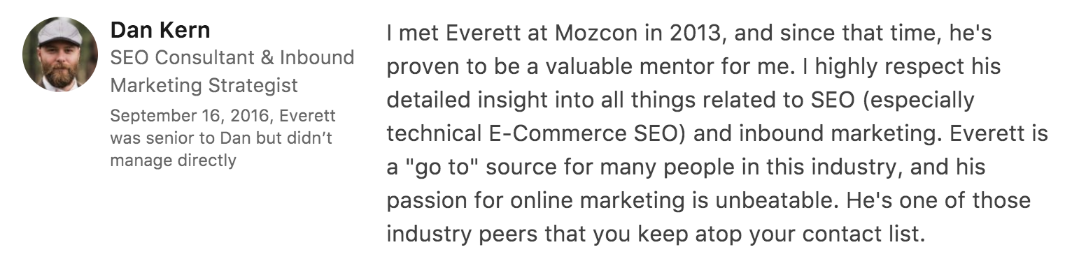 Recommendation for Everett Sizemore, SEO