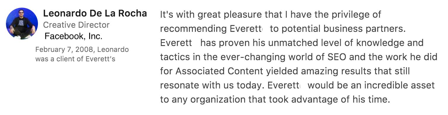 Testimonial for Everett
