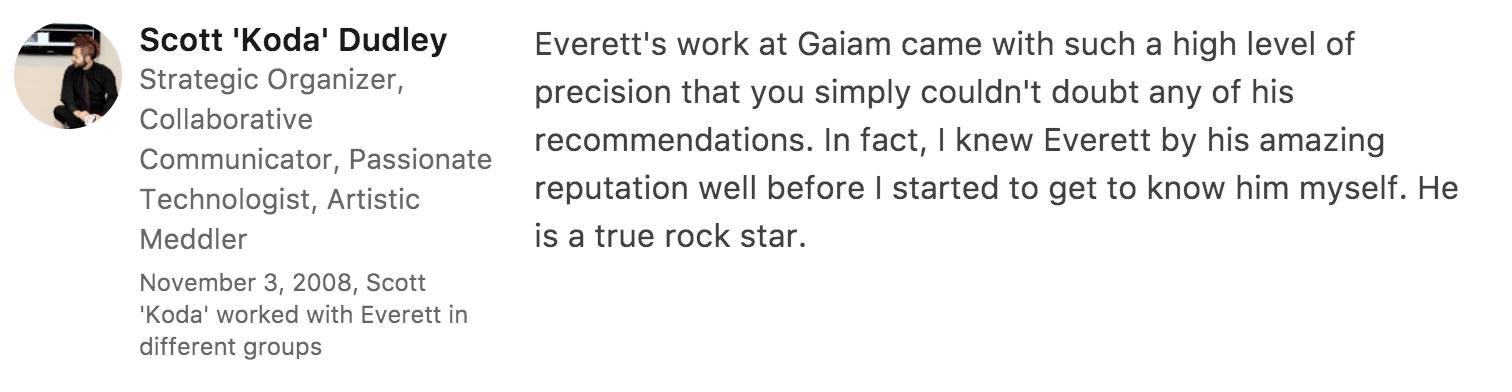 Recommendation for Everett Sizemore, SEO strategist